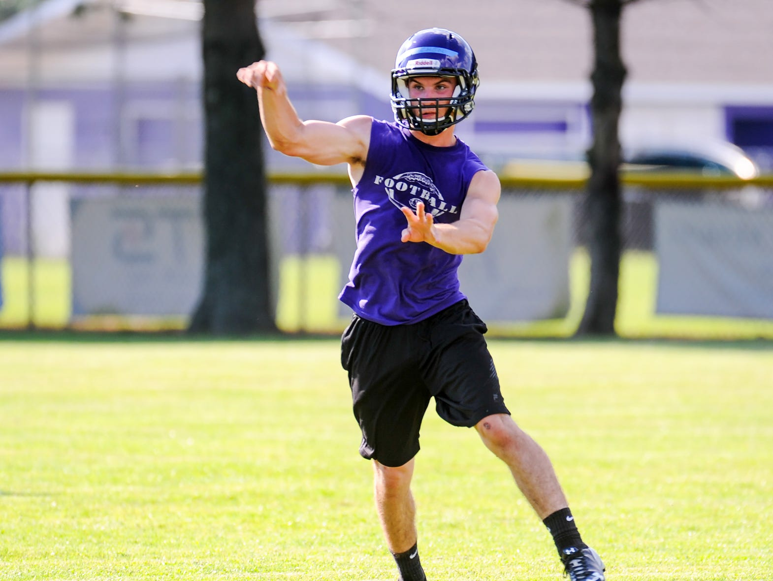 The Lakeview Spartans run through summer drills Tuesday night at Lakeview's practice field.