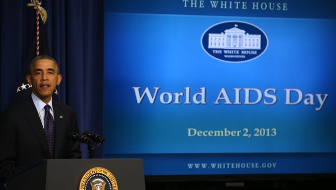 President Obama speaks during a World AIDS Day event in the Eisenhower Executive Office Building on Dec. 2 in Washington.