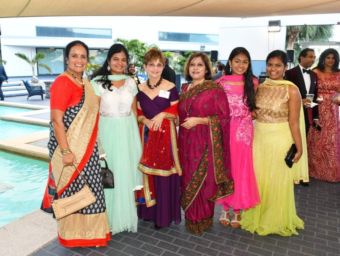 Dazzling dresses. Many at the event were dressed in