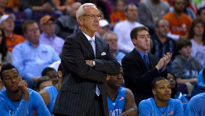 North Carolina Tar Heels head coach Roy Williams reacts during the first half against the Clemson Tigers.