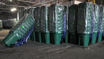 New recycling bins at Waste Management on East Commercial Row when Reno implemented its single-stream recycling program.