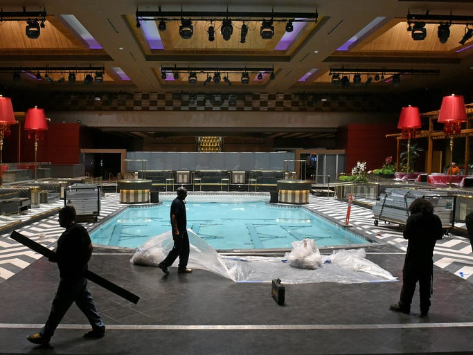 Images of the LEX Nightclub at the Grand Sierra Resort as worker get it ready for opening night.