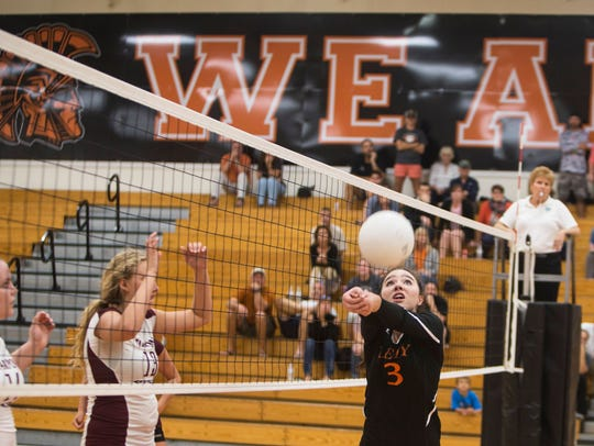File: Morgan Broxson connects with the ball during last year's regional semifinal victory over Tarpon Springs.