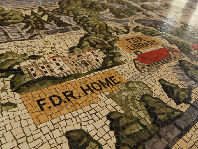 The Home of FDR, as depicted in a mosaic tile pictorial
