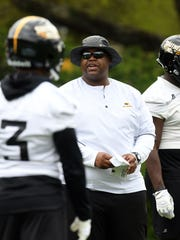 Southern Miss tight ends coach Brock Hays communicates
