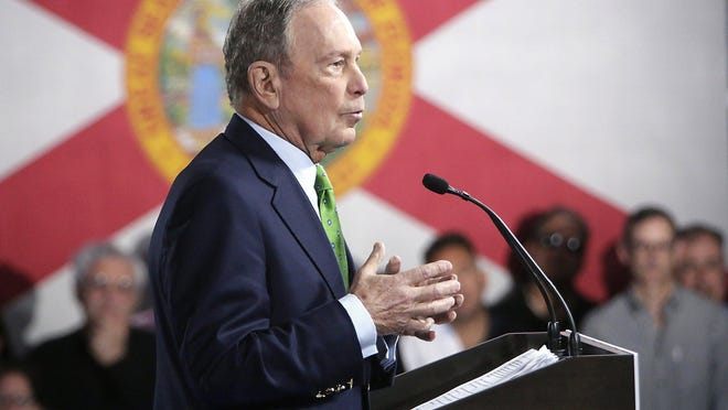 Presidential candidate, former New York mayor Michael Bloomberg speaks to Jewish voters on Sunday, Jan. 26, 2020 at Aventura Turnberry Jewish Center in Aventura, Fla.