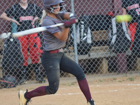 Stuarts Draft's Danielle Brenneman strokes an RBI single