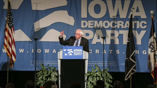 Vermont U.S. Sen. Bernie Sanders speaks at the Iowa Democratic Party Hall of Fame Celebration at the Cedar Rapids Convention Center on Friday.