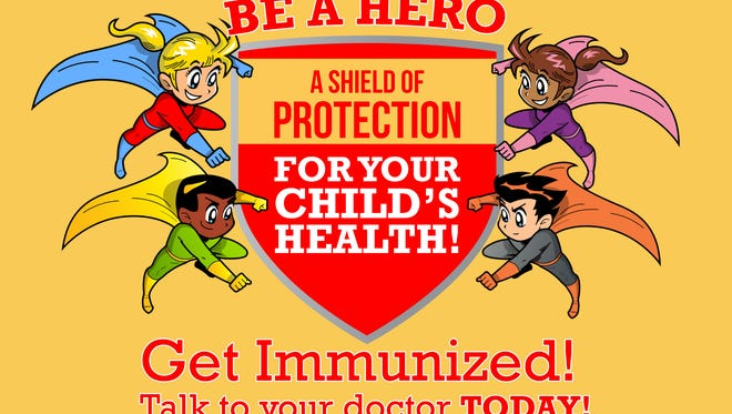 A poster of the Buncombe County Health and Human Services immunization campaign.