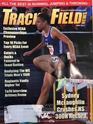 """Sydney McLaughlin's first """"Track and Field News"""" cover, May 2017."""