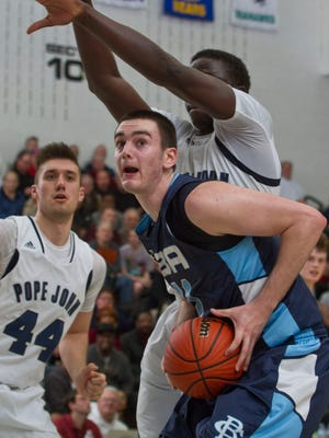 CBA's Patrick Andree goes to the hoop. Pope John defeats Christian Brothers Academy in the NJSIAA boys basketball Non-Public A state final. Toms River, NJ Saturday, March 14, 2015 Doug Hood/Staff Photographer @dhoodhood