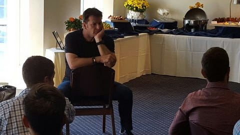 Sir Nick Faldo talked with the University of Rochester men's golf team for more than an hour about his career.