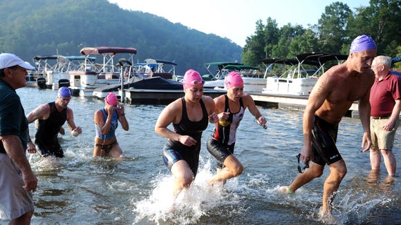 Swimmers at a past Lake Lure Triathlon. The Lake Lure