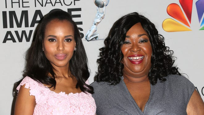 "Shonda Rhimes, right, with Kerry Washington of ""Scandal."""