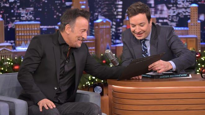"Bruce Springsteen visits ""The Tonight Show Starring Jimmy Fallon"" at Rockefeller Center on November 24, 2015 in New York City."