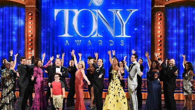 Actor and actress nominees perform onstage with host James Corden during the 70th Annual Tony Awards at The Beacon Theatre on June 12, 2016 in New York City.  (Photo by Theo Wargo/Getty Images for Tony Awards Productions)