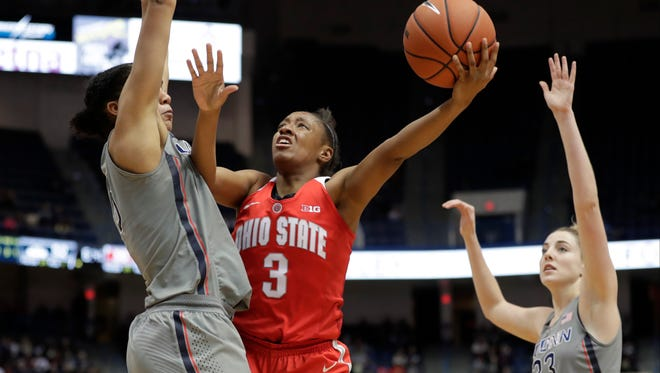 Ohio State Buckeyes guard Kelsey Mitchell (3) shoots the ball as Connecticut Huskies guard Gabby Williams (15) defends in the second half at XL Center on Dec. 19, 2016.