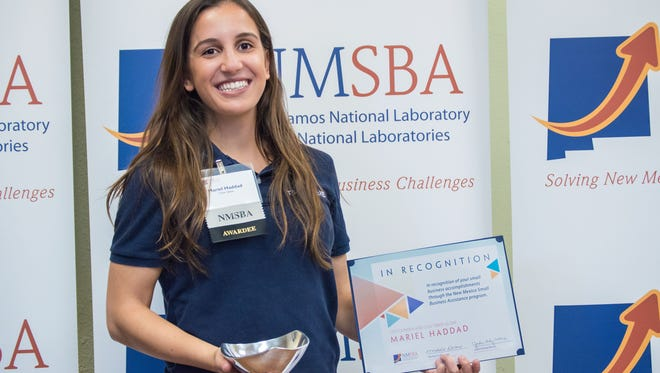 Mariel Vargas Haddad was recently selected as a New Mexico Small Business Assistance program as one of 10 success stories for her business, Timer Glove, a smart gym glove to help track workout characteristics.