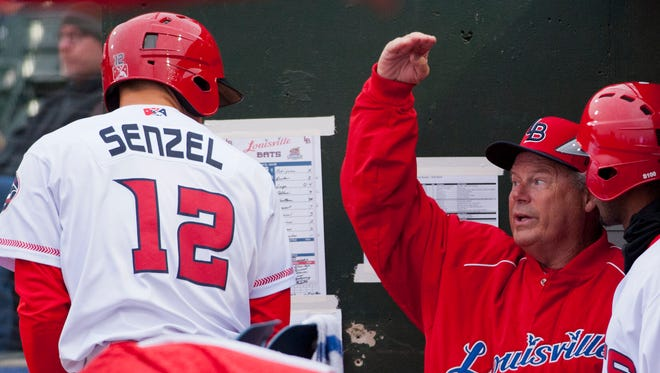 Louisville Bats second baseman Nick Senzell gets batting instructions from Bats' manager Pat Kelly. Both Senzell and Kelly are new to the Bats. April 06, 2018