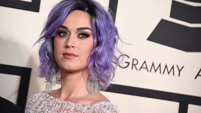 Katy Perry arrives at the 57th annual Grammy Awards at the Staples Center in Los Angeles on Feb. 8, 2015.