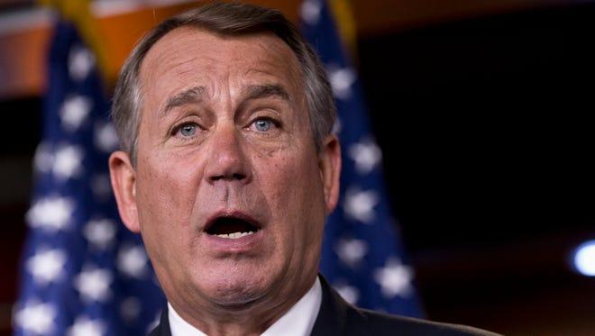 House Speaker John Boehner of Ohio speaks on Capitol Hill in Washington Aug. 1.