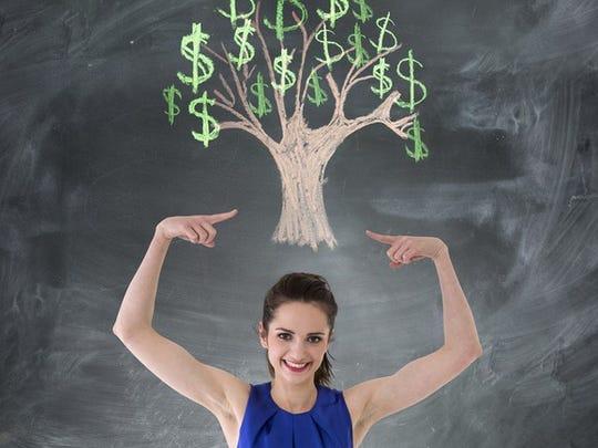 Woman Money Tree Chalkboard