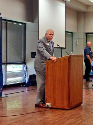 Louisiana College President Rick Brewer addresses the North Rapides Business & Industry Alliance on campus of the private Baptist school in Pineville on Monday.