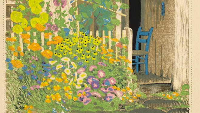 """Gustave Baumann created """"Grandma Battin's Garden"""" in 1927 in Brown County, Ind. It's one of his most well-known prints from Indiana. (Courtesy of Indianapolis Museum of Art)"""