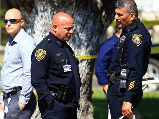 Police Chief Mike Markle talks to Assistant Police Chief Mark Gutierrez as the Corpus Christi Police Department investigates a murder-suicide in the 1600 block of Karen Drive on Friday, May 5, 2017, in Corpus Christi.