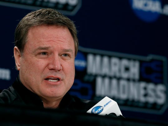 Kansas head coach Bill Self talks to the media during a news conference for an NCAA college basketball first round game Wednesday, March 14, 2018, in Wichita, Kan. (AP Photo/Charlie Riedel)