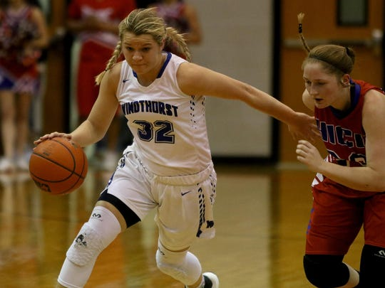 Windthorst's Tatum Veitenheimer dribbles upcourt in the playoff game against Hico Tuesday, Feb. 21, 2017, in Springtown.