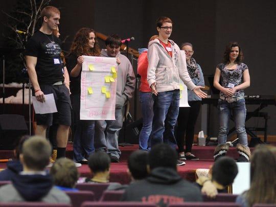 Teams of Ridgedale students each took turns talking