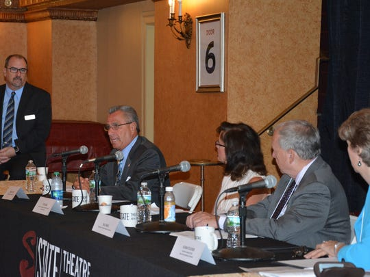 Freeholder Director Ronald G. Rios (left) is joined by Etta Denk, senior vice president and NJ market manager for Bank of America; Bill Engel, president of the Hyde & Watson Foundation; and Susan Stucker, interim president and CEO of the New Jersey Symphony Orchestra at a panel sponsored by State Theatre New Jersey and moderated by Theatre President and CEO Tom Carto.