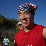 Brian Hsia running his first marathon in 2006. The former Somers High record-holding sprinter has run 75 marathons, including at least one in every state.