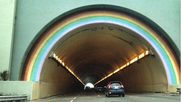 The southern portal of the Waldo Tunnel, sometimes referred to as the Rainbow Tunnel, on Rt. 101. It connects drivers crossing the Golden Gate Bridge from San Francisco to Sausalito and the rest of Marin County, Calif.