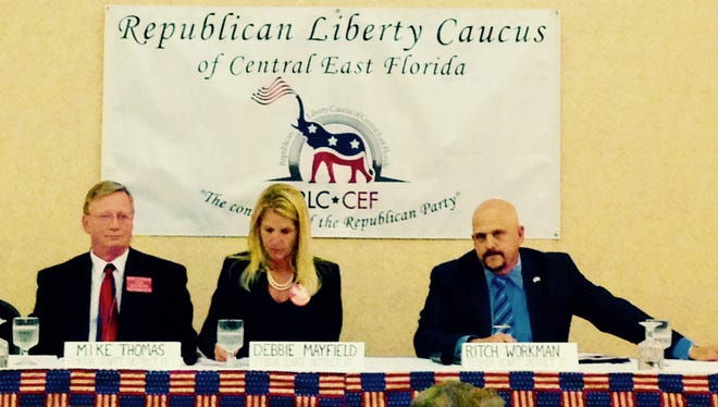 Republican Florida Senate District 17 candidates, from left, Mike Thomas, Debbie Mayfield and Ritch Workman, discussed the Indian river lagoon and other issues at a candidate forum in Viera.