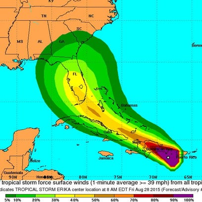 An Aug. 28, 2015 11 a.m. track of Tropical Storm Erika.