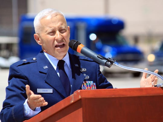 New Mexico National Guard Adjutant Gen. Andrew Salas speaks during a signing ceremony at Kirtland Air Force Base in Albuquerque, N.M., on Thursday, June 2, 2016. Federal, state and Native American officials reached a landmark agreement to balance training needs with cultural preservation by allowing tribes to request short-term flyover restrictions.