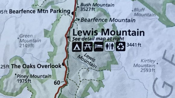 A map from the National Park Service showing Lewis Mountain.