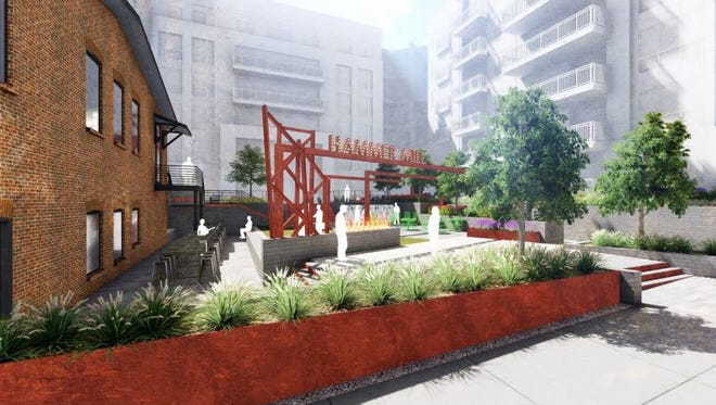 A view of the urban plaza planned at the Hammer Mill development in Germantown.