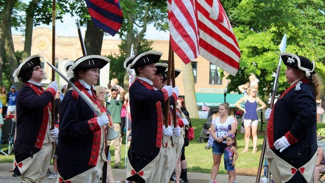 The Plymouth Fife and Drum Corps marches in the 2018 Great American Parade.