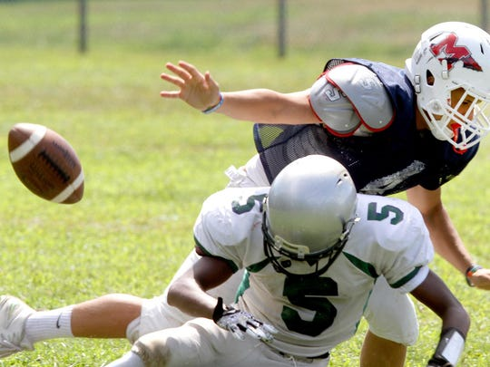 Manalapan's Marcus Salinas breaks up a pass thrown to Colts Neck's Craig Lea during a scrimmage Aug. 27.