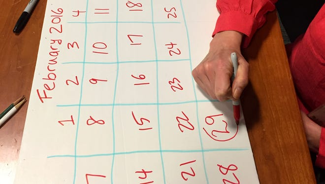 This Feb. 23, 2016 photo shows a homemade February 2016 calendar illustrating leap year. Feb. 29 is that extra day that rolls around every four years. Leap Year has a rich history, including table-turning marriage proposals fueled by marketing machine and playing directly into gender politics over decades. (AP Photo/Leanne Italie)
