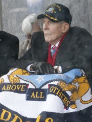 Korean War veteran Thomas Hudner watches the christening of the USS Thomas Hudner, a Navy destroyer named in his honor, April 1 at Bath Iron Works in Maine.