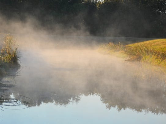 A steaming retention pond south of Wickham Road on