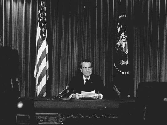 President Nixon announces he will resign effective
