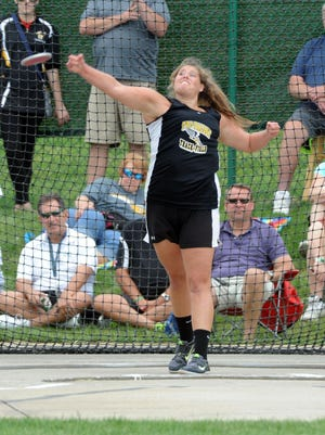 Tri-Valley's Kaylee Antill competes in the discus throw Saturday at the State Track and Field Tournament at Jesse Owens Memorial Stadium at Ohio State University in Columbus. Antill placed first in the event.