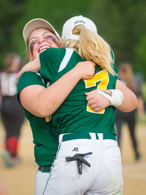 Mardela celebrates a 4-1 win over Saint Michael's in the 1A East Region Finals at Saint Michael's High School on Friday, May 20.