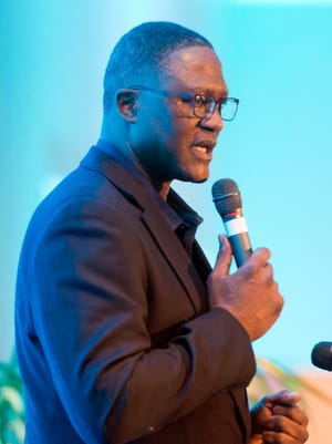NBA Hall of Famer, Dominique Wilkins, speaks during the annual Pensacola Sports Banquet as the evening's keynote speaker Wednesday evening.