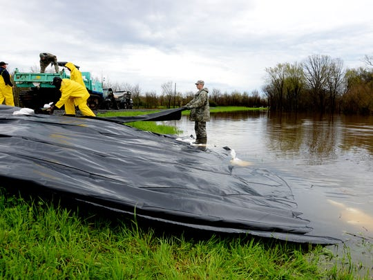 Barksdale Air Force and the Bossier Levee District joined together in Bossier City to help protect Red Chute Levee.